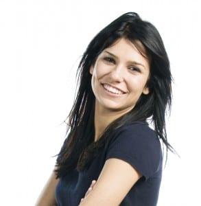 Latin girl smiling full length